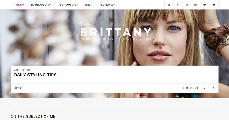 Download Brittany Fashion Lifestyle Blog Theme Now!