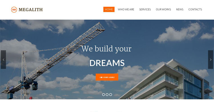 Download Megalith Construction WP Theme now!