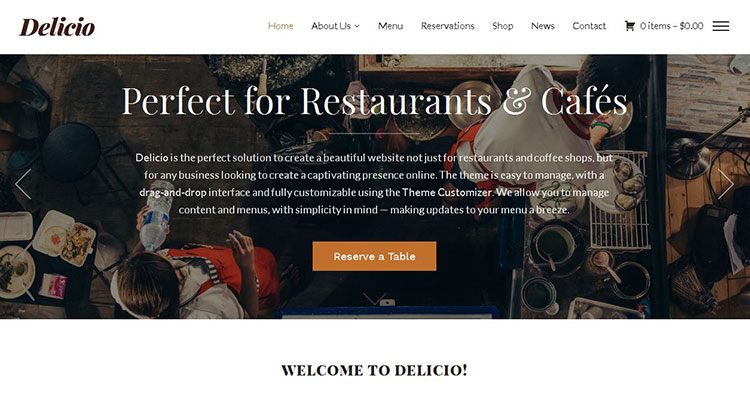 Delicio Restaurant Cafe WP Theme