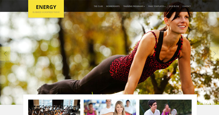 Energy Gym Fitness Business WP Theme