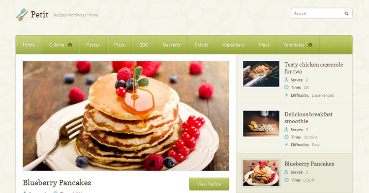 Download Petit Recipe Food WP Theme Now!