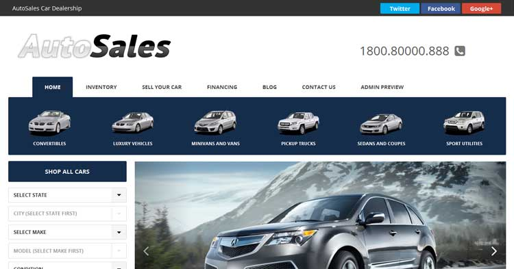 Autosales Deluxe WP Car Dealer theme