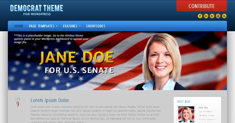 Democrat  – Political Campaign WP Theme