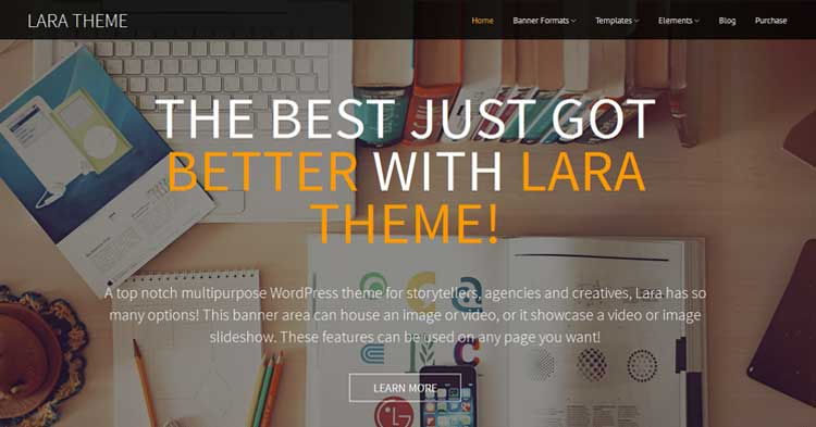 Lara One Page WordPress Theme