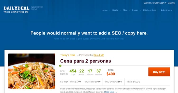 Daily Deal Coupon WordPress Theme