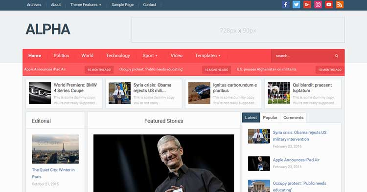 Download Alpha Magazine WordPress Theme now!