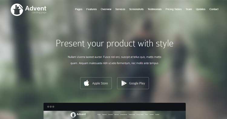 Advent – Creative App Landing Page