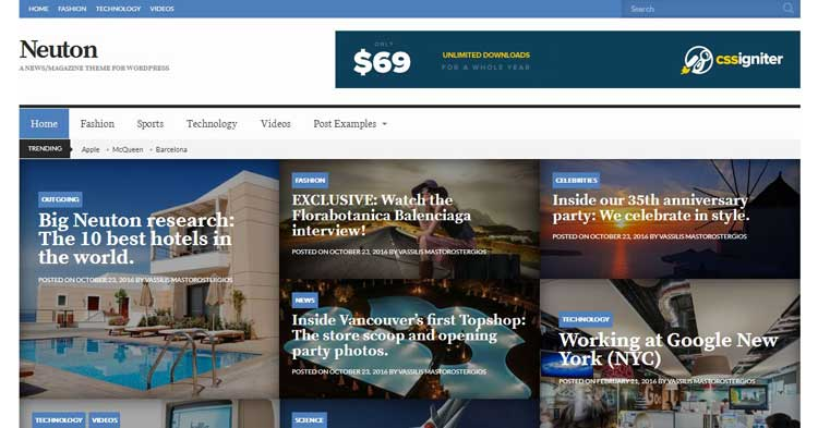 Neuton News Magazine WordPress Theme