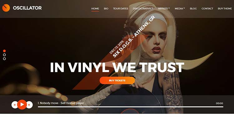Oscillator Music Club WordPress Theme