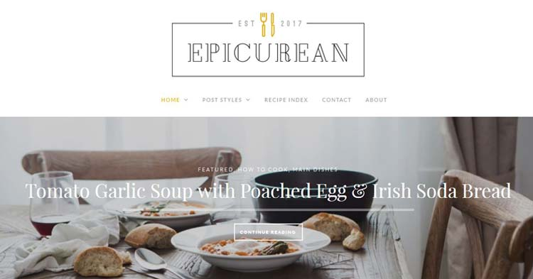 Epicurean Food Blog WordPress Theme