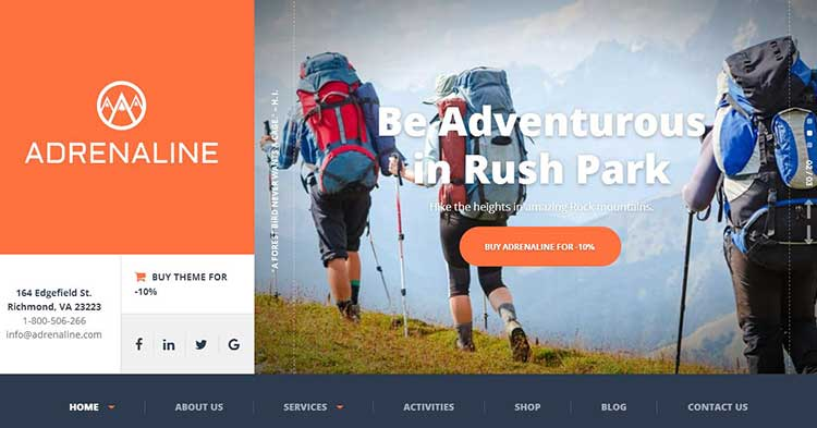 Download Adrenaline Sports Activities WP Theme Now!
