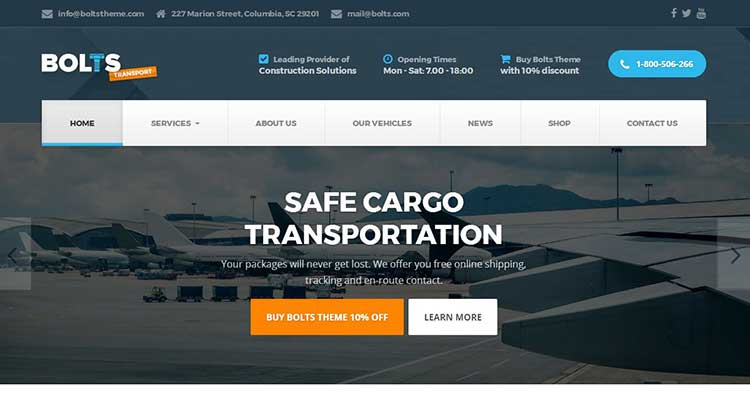 Bolts Transportation WordPress Theme