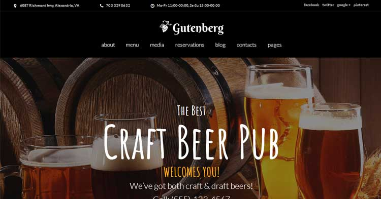 GutenBerg Beer Pub Brewery WP Theme