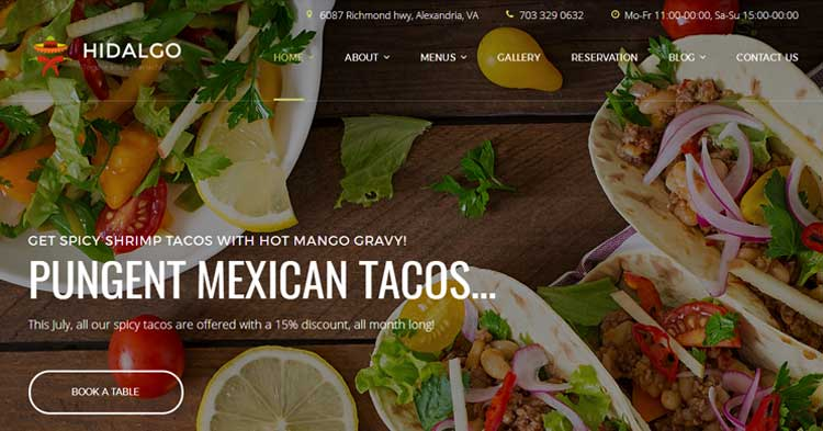 Download Hidalgo Mexican Food Restaurant Theme Now!