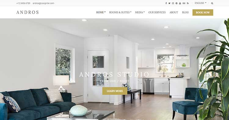 Andros Hotel Resort WordPress Theme