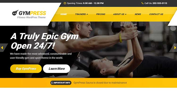 GymPress Sports Fitness WP Theme