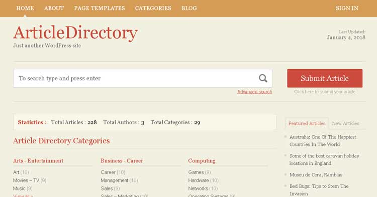 Download Article Directory WordPress Theme Now!
