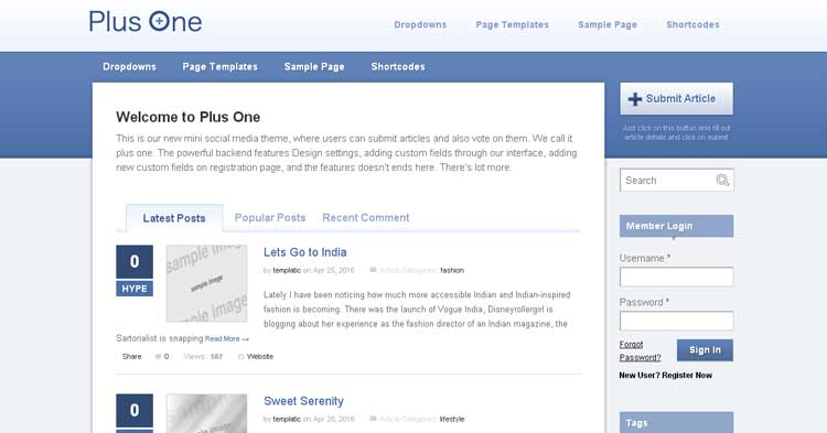 PlusOne Social Media Site WP Theme