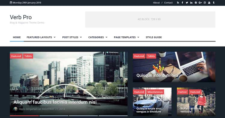 Verb Blog Magazine WordPress Theme