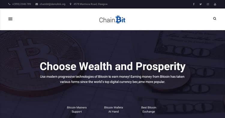 Download ChainBit Bitcoin WordPress Theme now!
