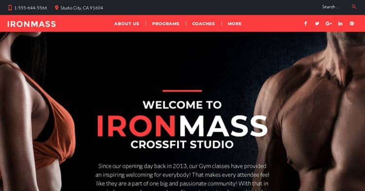 IronMass Gym Fitness WordPress Theme