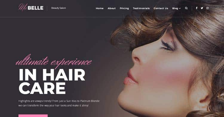 MaBelle Beauty Salon WordPress Theme