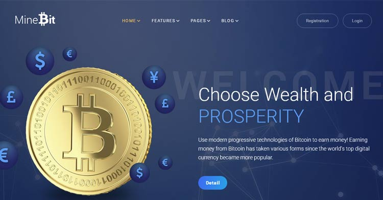 MineBit Bitcoin Cryptocurrency WP Theme