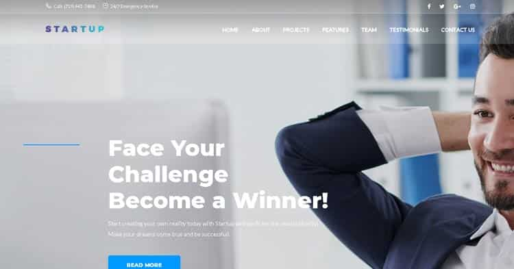 Download Startup Company One Page WP Theme Now!