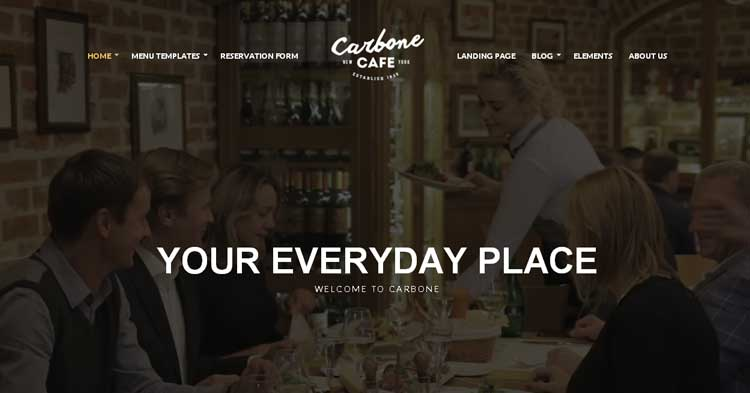 Carbone Restaurant Cafe WP Theme