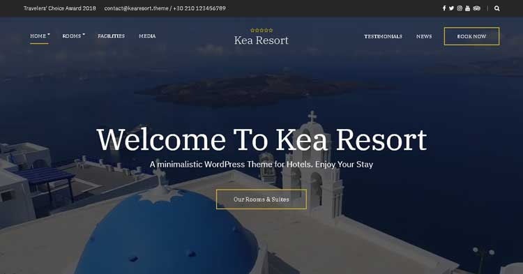 Kea Resort Booking WordPress Theme
