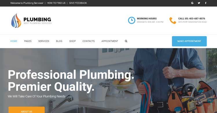Plumbing Home Maintenance WordPress Theme