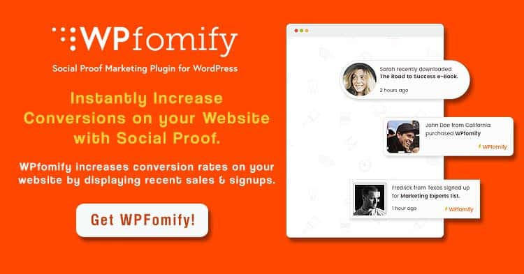 Download WPFomify Social Proof WordPress Plugin