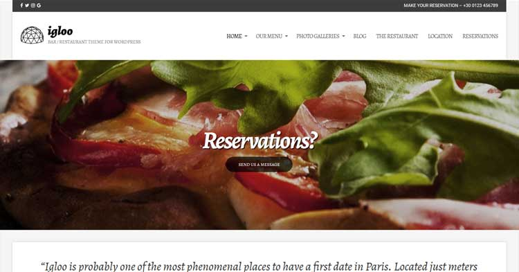 Igloo Restaurant WordPress Theme