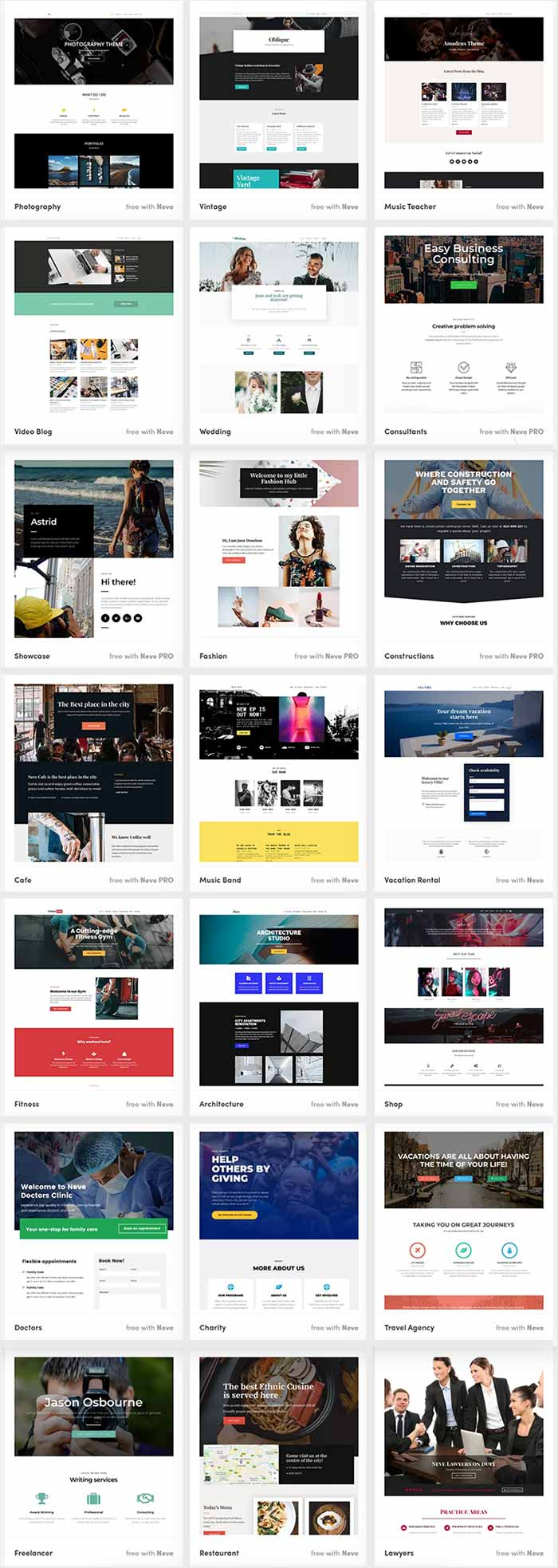 Neve Pro theme - Starter Sites Demos for different niche websites