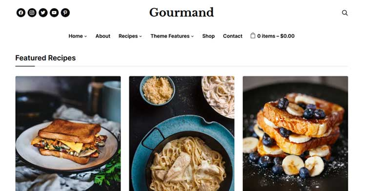 Download Gourmand Recipe Food Blog WP Theme Now!