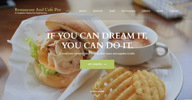 Restaurant And Cafe Pro WordPress Theme