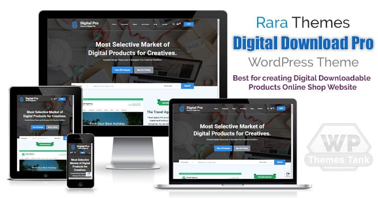 RaraThemes - Download the Digital Download Pro WordPress theme for creating eBook, Video, Music, Digitally downloadable products website