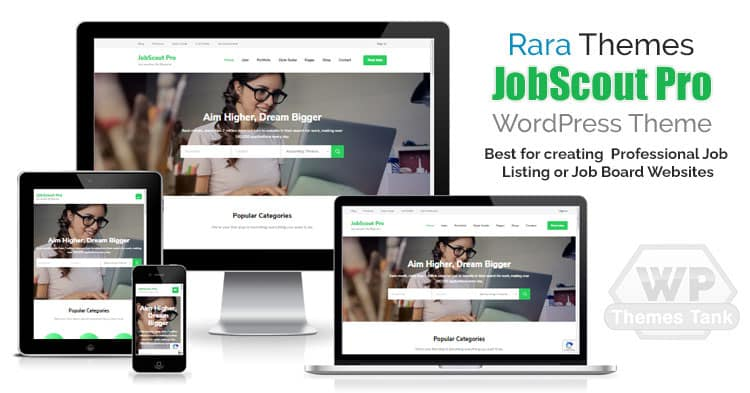 RaraThemes - Download the JobScout Pro WordPress theme for creating professional job listing website
